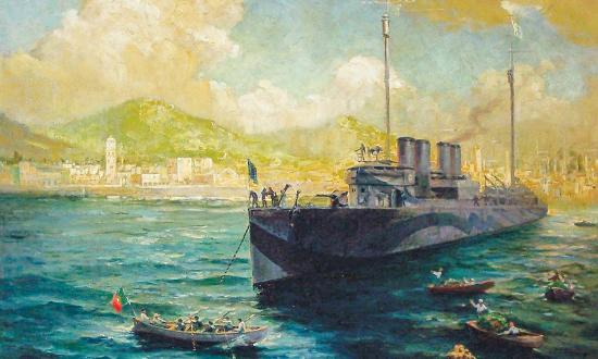 Depiction of Ponta Delgada Harbor commissioned by Franklin D. Roosevelt and painted by Charles Edwin Ruttan.