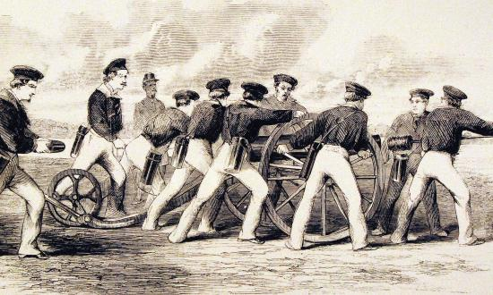 Engraving of a naval gun crew preparing to fire its Dahlgren boat howitzer.