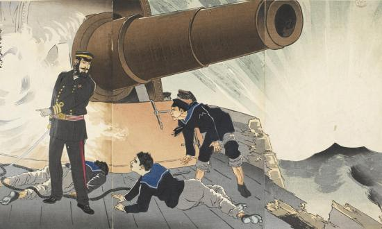The main battery on board the Japanese flagship Matsushima during the Battle of the Yalu River, 17 September 1894.
