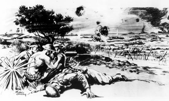 Marines on Wake Island fire a .30-caliber Browning machine gun on 23 December 1941—the final day of fighting—in this illustration by artist Albin Henning.
