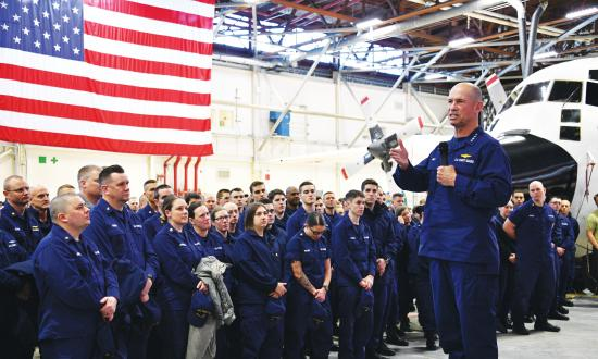 Vice Commandant of the Coast Guard Admiral Charlie Ray at an all-hands event in Kodiak, Alaska
