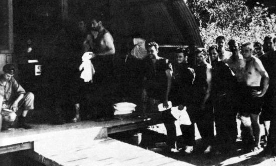Survivors from the USS Helena (CL-50) on Vella Lavella