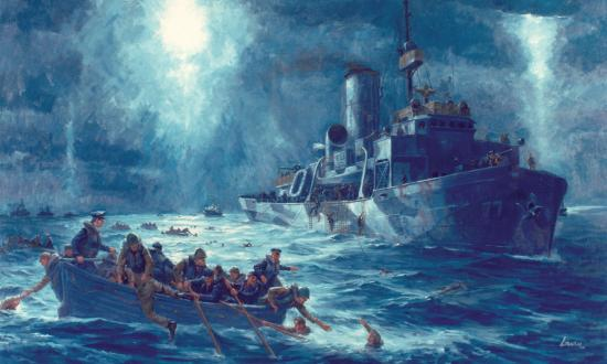 Coast Guardsmen from the cutter Escanaba come to the rescue of the torpedoed transport Dorchester's survivors on 3 February 1943, as depicted by Robert Lavin