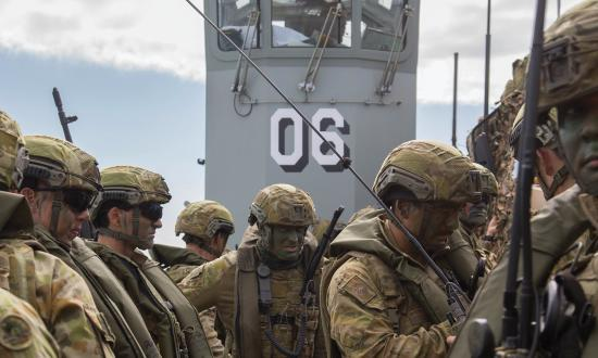 Soldiers from 2nd Battalion, Royal Australian Regiment transit to the beach in one of HMAS Canberra'sLCM-8 Landing Craft during Exercise Talisman Saber 2017