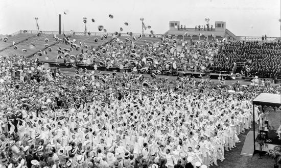 raduates of the class of 1939 toss their caps in air at the conclusion of graduation exercises, June 1, 1939.