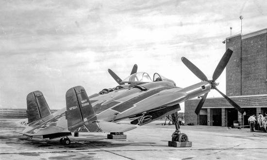 Ground-to-ground right side rear view of a XF5U-1 prototype aircraft