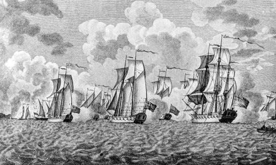 An engraving depicting the Battle of Valcour Island, or the Battle of Valcour Bay, which took place on 11 October 1776.