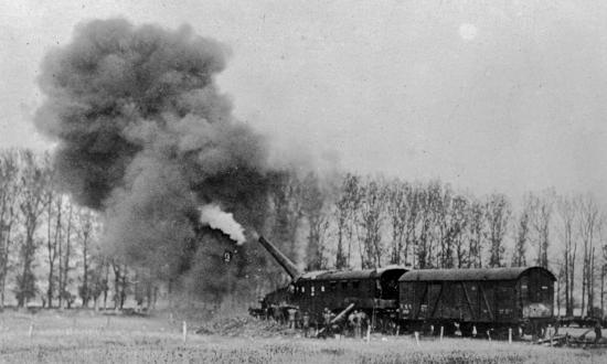 U. S. naval railway battery firing from Thierville into Longuyon.