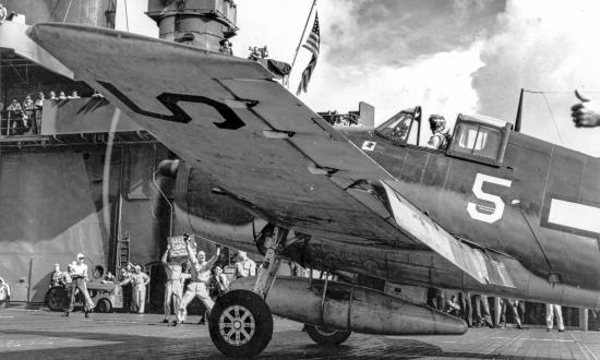 Hellcat Fighter aircraft is launched from the aircraft carrier USS Yorktown during the Battle of the Philippines Sea.