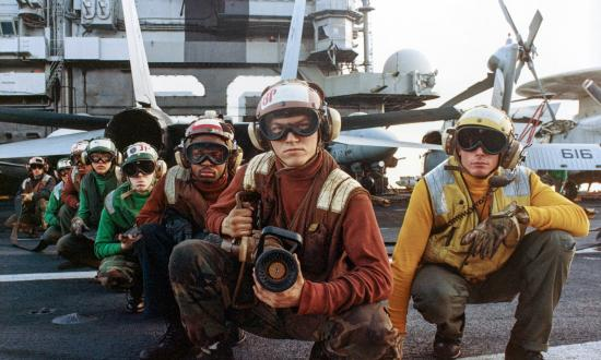 Deck firefighting team on board the aircraft carrier USS Saratoga (CV-60)