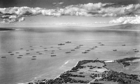 The battle fleet anchored at Lahaina, Maui, in 1932