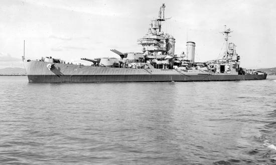 USS New Orleans (CA-32) at Mare Island in 1945