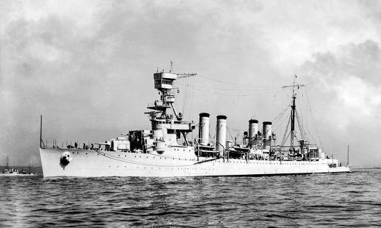 USS Detroit (CL-8) underway before 1940.
