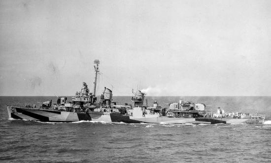 Broadside view of the USS Van Valkenburgh (DD-656) at sea