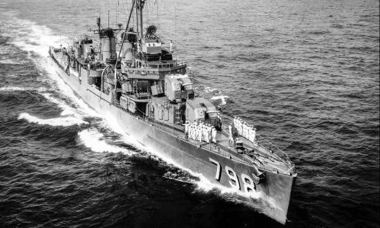 USS Monssen (DD-798) showing it's starboard bow