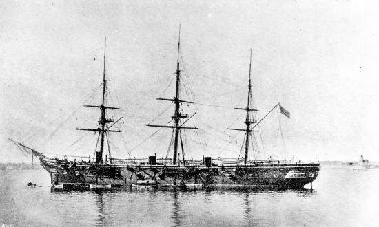 U.S. Steam Frigate Tennessee at anchor.