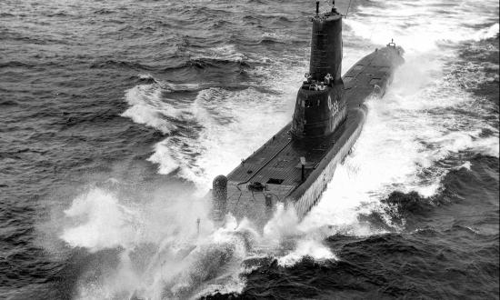 Port bow view of USS Sea Cat (SS-399) underway at sea.