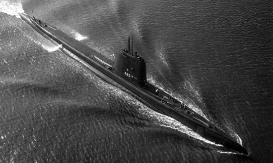 USS Sirago (SS-485) underway in Hampton Roads, VA.