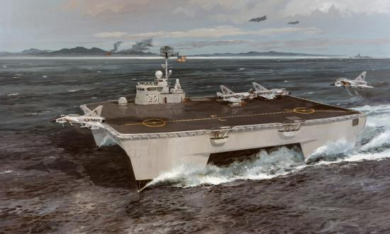 Artists' concept of a 300-ton SWATH type STOVL aircraft carrier