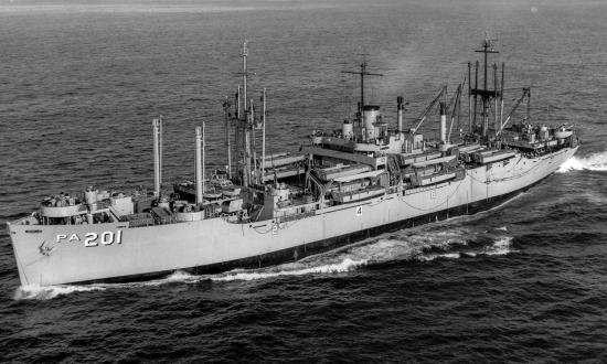 Port bow view of the USS Menard (APA-201) underway, circa 1954, off Point Loma, San Diego, Californi