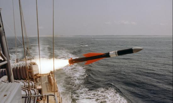 View of the launching of a German Exocet missile from a ship