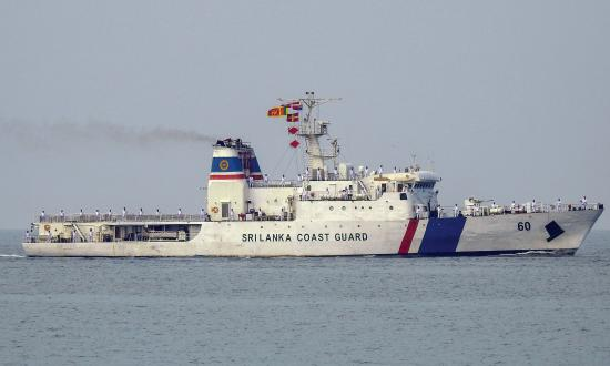 Surface starboard profile view of the Sri Lanka Coast Guard ship Suraksha underway