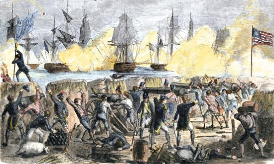 A Royal Navy fleet bombards Fort Sullivan in Charleston Harbor on 28 June 1776.