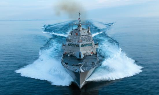 The future littoral combat ship USS Wichita (LCS-13) conducts acceptance trials