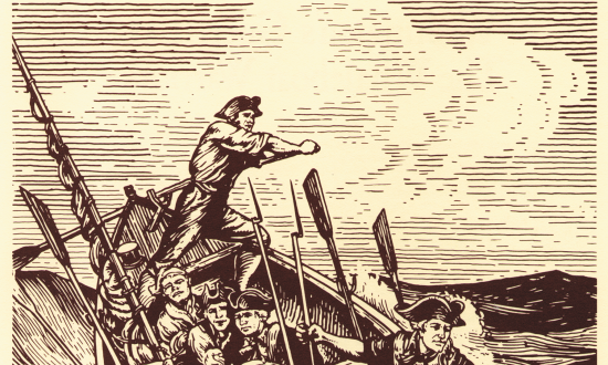 Engraving of a Continental Navy armed whaleboat