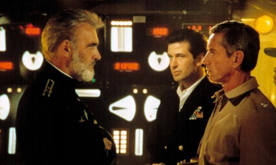 Sean Connery as Marko Ramius, Alec Baldwin as Jack Ryan, and Scott Glenn as Commander Bart Mancuso man the set for The Hunt for Red October.