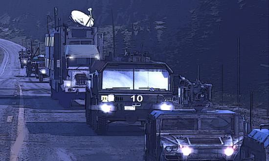 Computer-Generated Graphic of a futuristic convoy