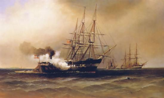 Ramming of the U.S.S. Cumberland by the Merrimac, by Alexander Charles Stuart, The Athenaeum