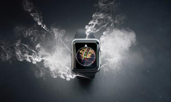 CGI concept of a wrist-wearable GPS map with smoke