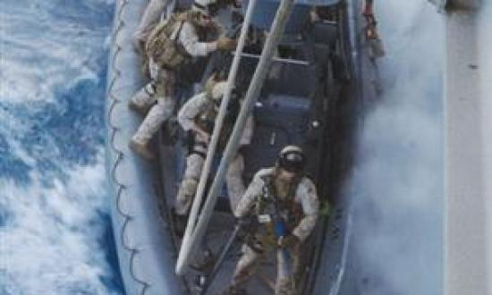 In its preparation for hunting pirates, the author's platoon trains for hook-and-climb tactics, having just completed the hook and starting to climb. At press time, the unit was en route to its first live mission. Marine Force Reconnaissance was reactivat