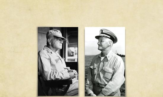 "Portraits of Admiral William ""Bull"" Halsey and Admiral Chester Nimitz"