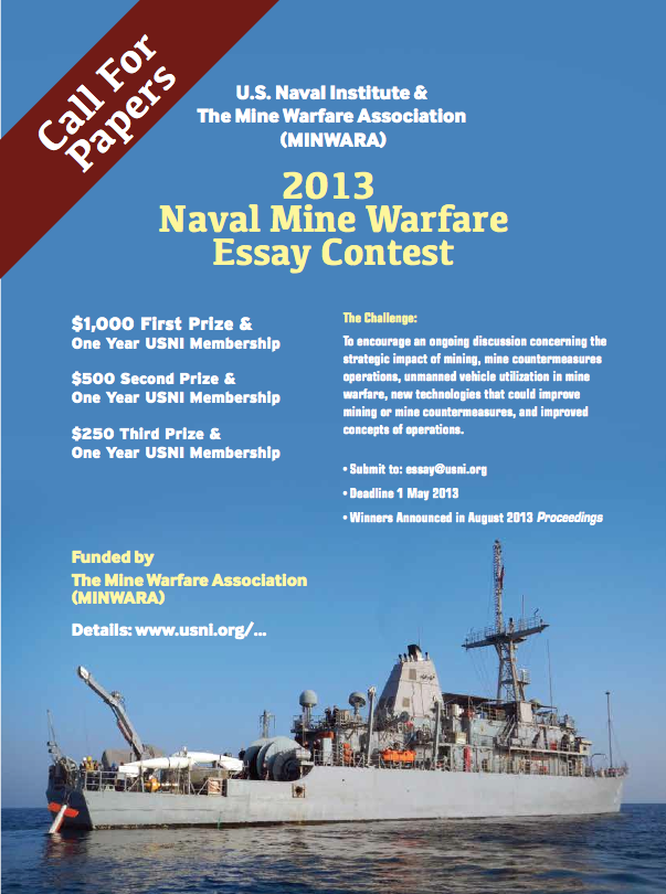2013 Naval Mine Warfare Essay Contest